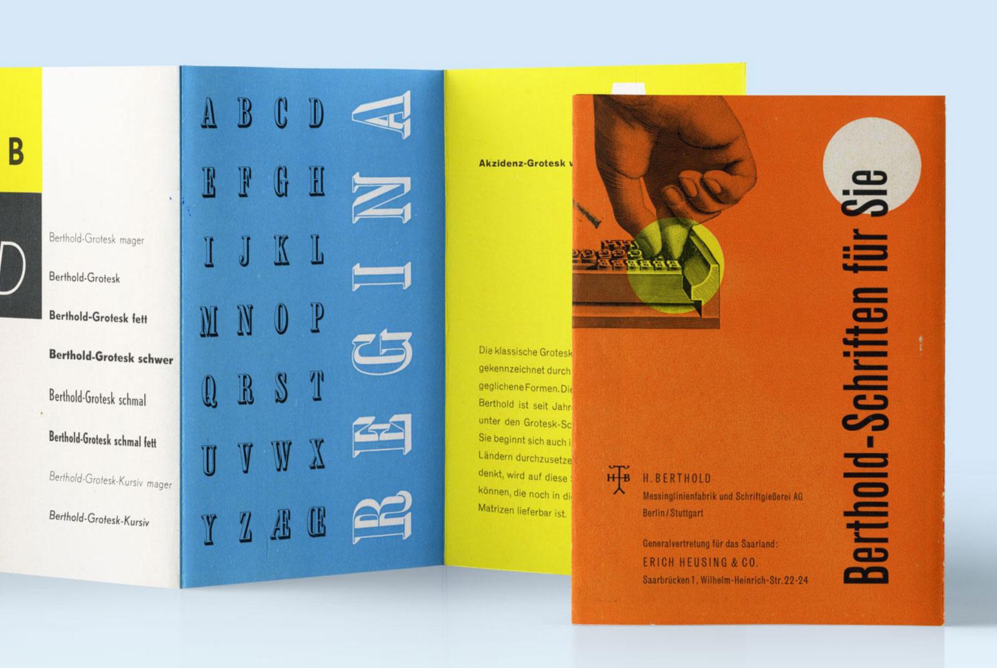 H. Berthold AG Werbebroschüre »Berthold-Schriften für Sie«, Design: Günter Gerhard Lange, undatiert